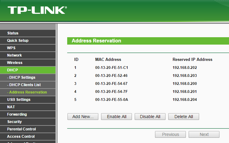 DHCP Address Reservation